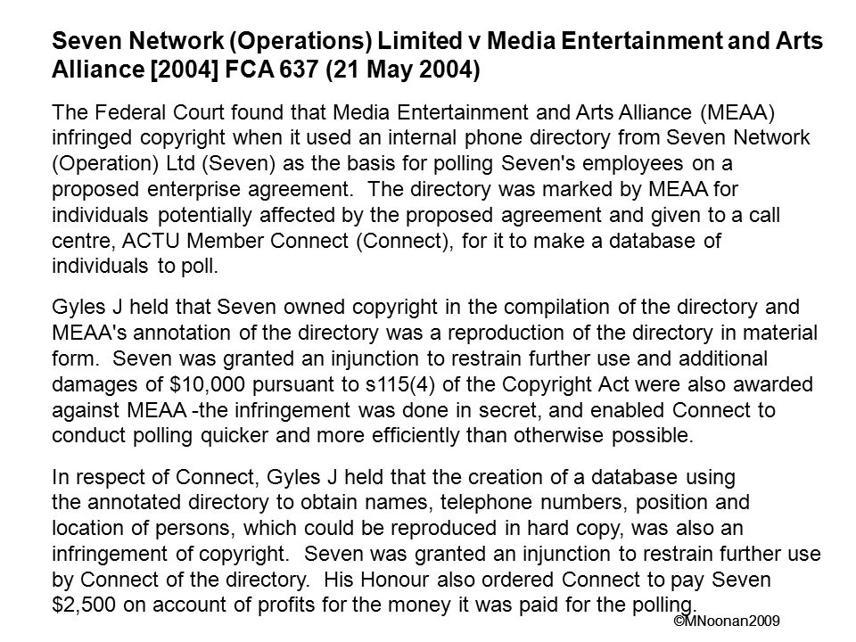 Seven Network (Operations) Limited v Media Entertainment and Arts Alliance [2004] FCA 637 (21 May 2004)